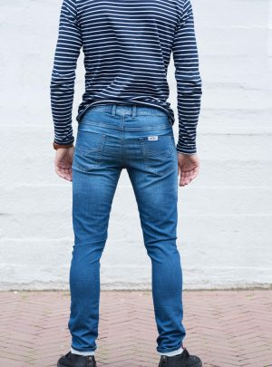 Jogg jeans unisex, slim fit, blauw-023