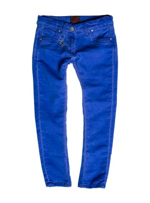 Jogging jeans girls, slim fit, kobaltblauw-654