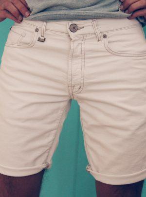 Jogging jeans bermuda, slimfit wit-003