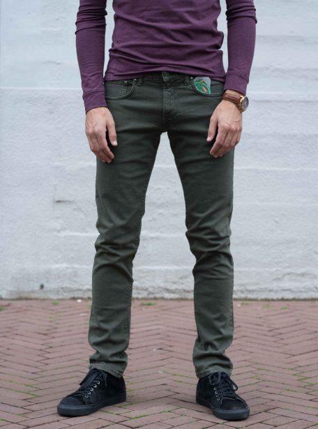 Elastische jeans groen