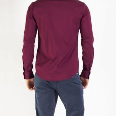 Shirt bordeauxrood getailleerd-494
