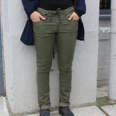 Jogg jeans dames slim fit, olijfgroen-774