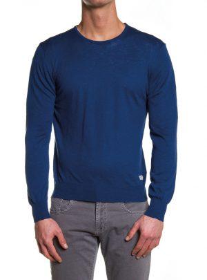Sweater katoen ronde hals blauw