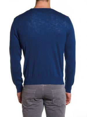 Sweater Katoen Heren Ronde Hals Blauw-669