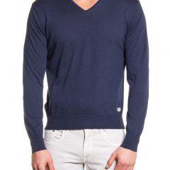 Sweater katoen V-hals donkerblauw