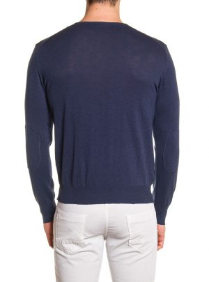 Sweater katoen V-hals heren donkerblauw-687