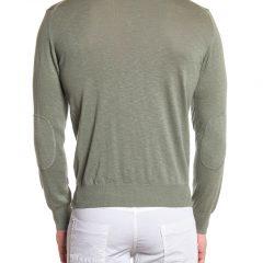 Sweater katoen V-hals heren olijfgroen-749