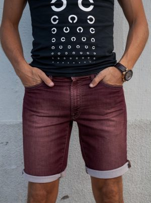 Jogg jeans kort bordeauxrood