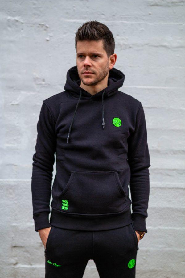 Hoodie zwart met groen