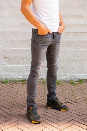Stretch jeans donkergrijs zijkant